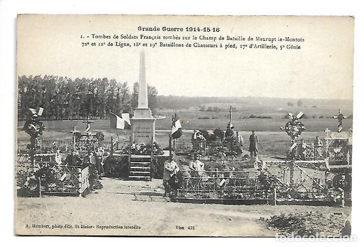 3 POSTALES LA GUERRA MUNDIAL DE 1.914- LAS TUMBAS DE LOS SOLDADOS FRANCESES (Postales - Postales Temáticas - I Guerra Mundial)