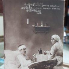 Postales: ANTIGUA POSTAL ROMANTICA MILITAR HOSPITAL ENFERMERA CRUZ ROJA 1 GUERRA MUNDIAL FRANCESA. Lote 247997965