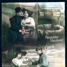 Cartes Postales: GIROEXLIBRIS.- FRANCIA ANTIGUA POSTAL SIN CIRCULAR DE DE SOLDADO CON MUJER (POSTAL COLOREADA A MANO). Lote 252277855