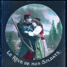 Cartes Postales: GIROEXLIBRIS.-FRANCIA ANTIGUA POSTAL CIRCULADA DE LE RÉVE DE NOS SOLDATS (POSTAL COLOREADA A MANO). Lote 252280755