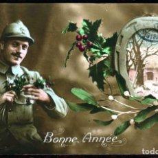 Cartes Postales: GIROEXLIBRIS.- FRANCIA ANTIGUA POSTAL CIRCULADA DE FELIZ AÑO 1918 (POSTAL COLOREADA A MANO). Lote 252314305