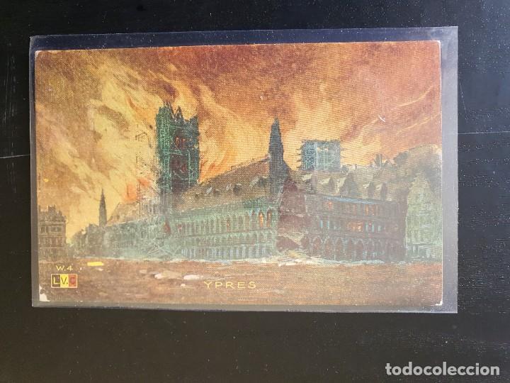 YPRES, HOLANDA, EDIFICIO EN LLAMAS (Postales - Postales Temáticas - I Guerra Mundial)
