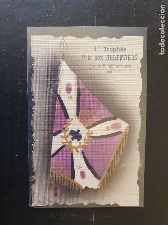 BANDERA TOMADA A LOS ALEMANES POR LE 10 CHASSEURS (Postales - Postales Temáticas - I Guerra Mundial)