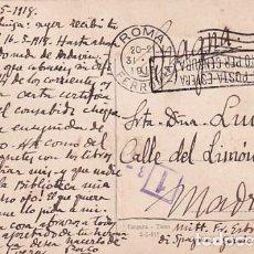 Postales: TARJETA POSTAL ROMA. CENSURA MILITAR PRIMERA GUERRA MUNDIAL. CIRCULADA.. Lote 257274715