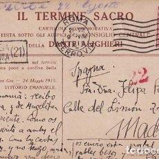 Postales: POSTAL ITALIA PRIMERA GUERRA MUNDIAL. CIRCULADA CENSURA MILITAR. ENVIADA A ESPAÑA.. Lote 257281495
