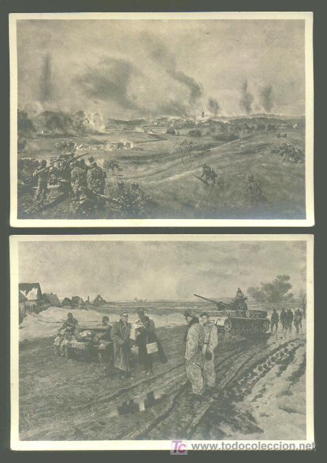 2 POSTALES ALEMANAS - (Postales - Postales Temáticas - II Guerra Mundial y División Azul)