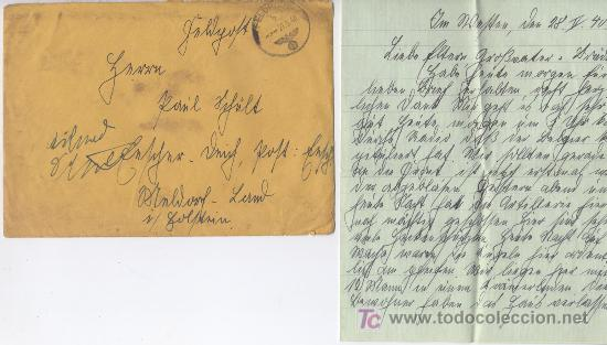 ALEMANIA III REICH HISTORIA POSTAL, SOBRE CON CARTA CIRCUALDO 27 - 5 - 1940. FRANQUICIA 3 ))) (Postales - Postales Temáticas - II Guerra Mundial y División Azul)