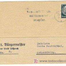 Postales: TARJETA POSTAL DE ALCALDE POFNECK CON SALUDO FINAL 22 ENERO 1942 CON SELLO DE HINDENBURG. Lote 24989726