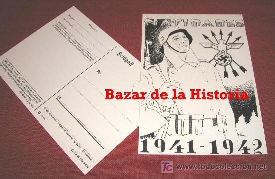 POSTAL NAVIDEÑA DIVISION AZUL - NAVIDADES 1941 - 1942 REPRODUCCION FIDEDIGNA 100% POSTAL MUY RARA. (Postales - Postales Temáticas - II Guerra Mundial y División Azul)