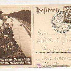 Postales: POSTKARTE. 1936. 23/9/1933 - 23/9/1936. ERSTER SPATENSTICH 1000 KM AUTOBAHN FERTIG. ALEMANIA . . Lote 12509352