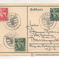 Postales: POSTKARTE. DEUTSCHES REICH. 1938. CIRCULADA DE ALEMANIA - COLOMBIA. MATASELLOS . . Lote 12509763