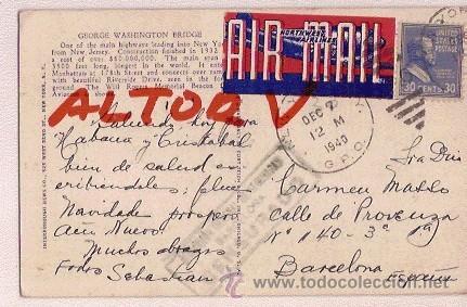 POSTAL GEORGE WASHINTON BRIDGE CON SELLO DIRECCION GENERAL DE SEGURIDAD BARCELONA 1940 (Postales - Postales Temáticas - II Guerra Mundial y División Azul)