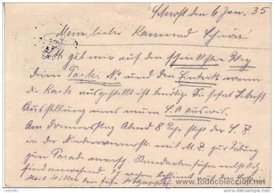 Postales: Postal Alemania. Frankfurt 6-1-1935. III Reich. 2ª Guerra Mundial. - Foto 2 - 26287653