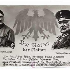 Postales: POSTAL II GUERRA MUNDIAL NAZISMO. HITLER HINDENBURG ESCRITA POR FRITZ BUDE A AMIGOS ESPAÑOLES 1937. Lote 16229700