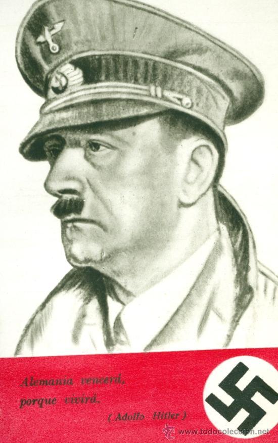 HITLER. POSTAL CON SU DIBUJO. MADRID, HAUSER Y MENET (C. 1953?) (Postales - Postales Temáticas - II Guerra Mundial y División Azul)