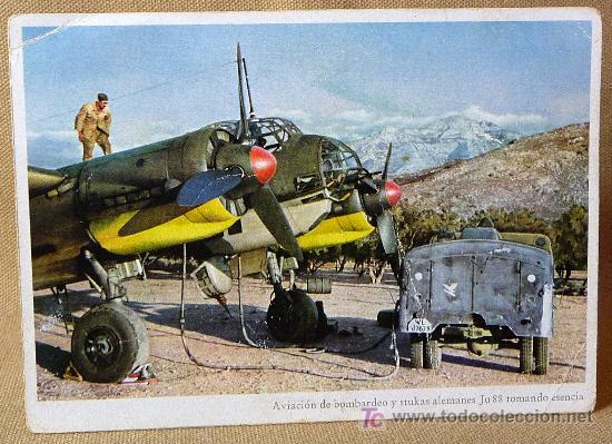 POSTAL, AVIACION DE BOMBARDEO Y STUKAS ALEMANES JU 88 TOMANDO ESENCIA (Postales - Postales Temáticas - II Guerra Mundial y División Azul)
