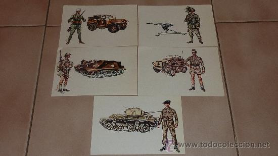 LOTE DE 5 POSTALES DE UNIFORMES Y TANQUES DE LA IIWW. VARIADOS. (Postales - Postales Temáticas - II Guerra Mundial y División Azul)