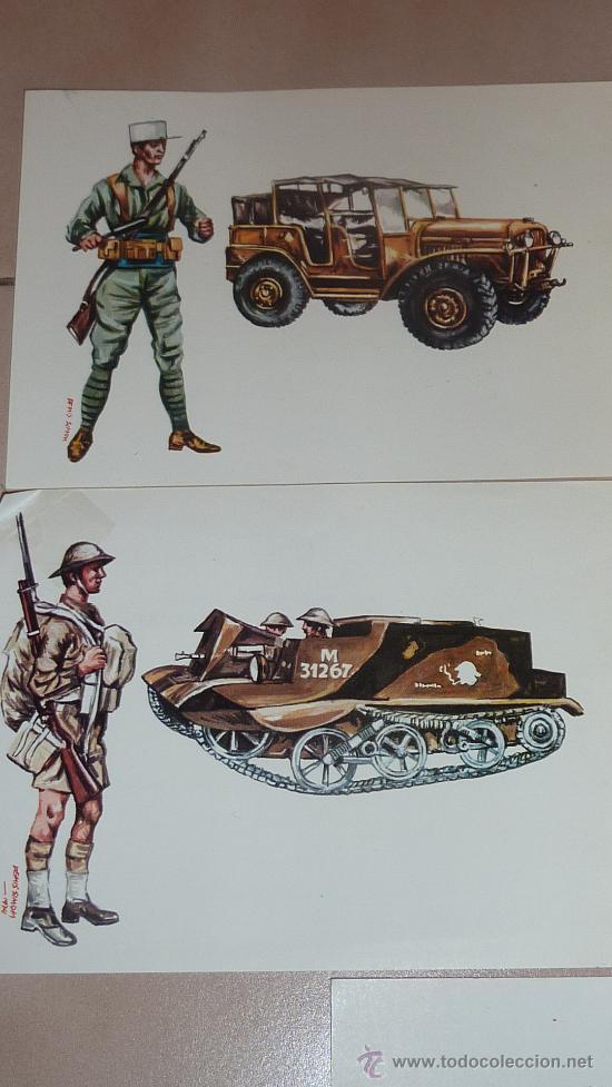 Postales: Lote de 5 postales de uniformes y tanques de la IIWW. Variados. - Foto 2 - 24907737