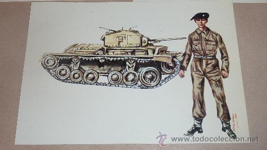 Postales: Lote de 5 postales de uniformes y tanques de la IIWW. Variados. - Foto 4 - 24907737