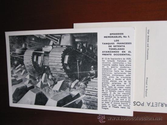POSTAL SERIE EPISODIOS MEMORABLES - Nº 3 TANQUES FRANCESES EN FRENTE ORIENTAL - WAR ARTISTS (Postales - Postales Temáticas - II Guerra Mundial y División Azul)