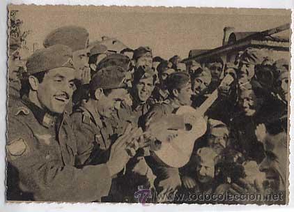 POSTAL: CRUZADA EUROPEA CONTRA BOLCHEVISMO, DIVISION AZUL. CANCION DEL TERRUÑO. SIN CIRCULAR (Postales - Postales Temáticas - II Guerra Mundial y División Azul)
