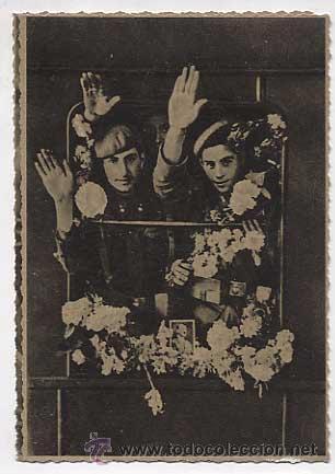 POSTAL: CRUZADA EUROPEA CONTRA BOLCHEVISMO, DIVISION AZUL. RECIBIMIENTO EN ESTACIONES ALEMANAS (Postales - Postales Temáticas - II Guerra Mundial y División Azul)