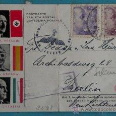 Postales: ANTIGUA TARJETA POSTAL CON HITLER MUSSOLINI Y FRANCO - CON MATASELLOS ALEMAN Y DE CENSURA - CIRCULAD. Lote 27393588
