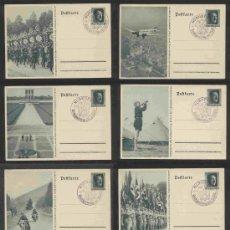 Postales: ALEMANIA CONGRESO DE NUREMBERG 1937 8 TARJETAS POSTALES ESP COMPLETA MATASELLOS OFICIAL RARO. Lote 30410881