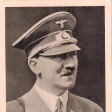Postales: POSTAL DE ADOLF HITLER. MATASELLOS DE HAMBURGO CON LOS EMBLEMAS Y DE FALANGE. 31-5-1939. Lote 34710796