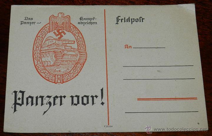ANTIGUA POSTAL PANZERKAMPF ABZEICHEN, C/1550, SIN CICULAR, ALEMANIA. ORIGINAL. (Postales - Postales Temáticas - II Guerra Mundial y División Azul)