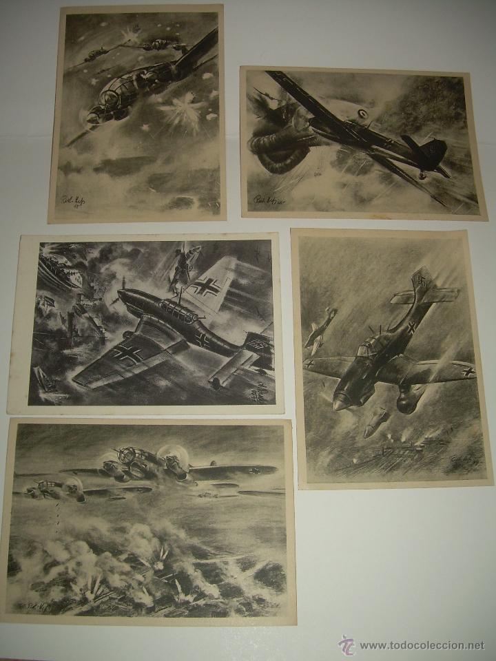 LOTE DE CINCO POSTALES. (Postales - Postales Temáticas - II Guerra Mundial y División Azul)