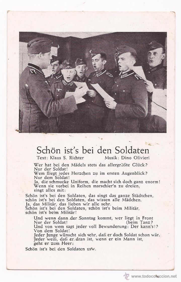 POSTAL SCHÖN IST'S BEI DEN SOLDATEN / CANCIÓN / SPEZIAL VERLAG FRANKE, HAMBURG / ORIGINAL DE LA ÉPOC (Postales - Postales Temáticas - II Guerra Mundial y División Azul)