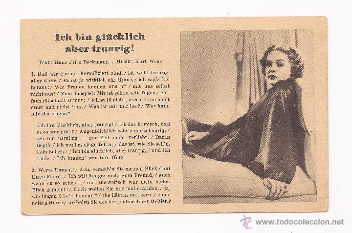 POSTAL ICH BIN GLÜCKLICH ABER TRAURIG ! / CANCIÓN / SPEZIAL VERLAG FRANKE, HAMBURG / ORIGINAL DE LA (Postales - Postales Temáticas - II Guerra Mundial y División Azul)