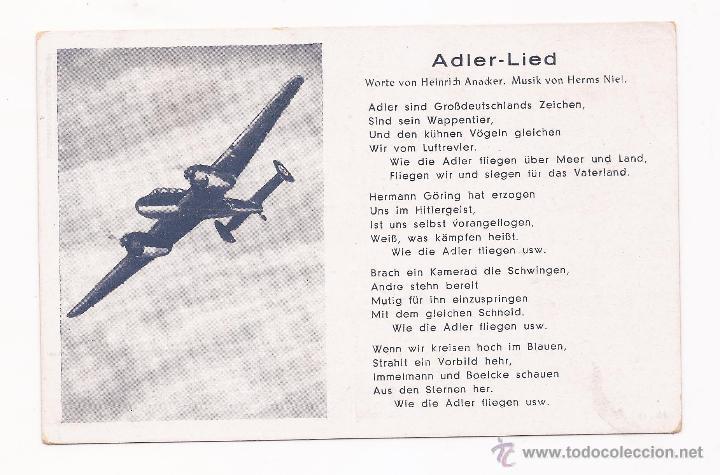 POSTAL ADIER - LIED / CANCIÓN / SPEZIAL VERLAG FRANKE, HAMBURG / ORIGINAL DE LA ÉPOCA / SIN USAR (Postales - Postales Temáticas - II Guerra Mundial y División Azul)