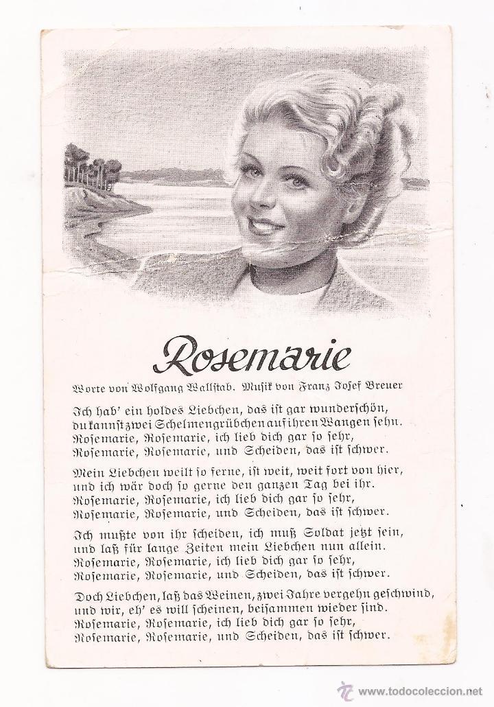POSTAL ROSEMARIE / CANCIÓN / SPEZIAL VERLAG FRANKE, HAMBURG / ORIGINAL DE LA ÉPOCA / SIN USAR (Postales - Postales Temáticas - II Guerra Mundial y División Azul)