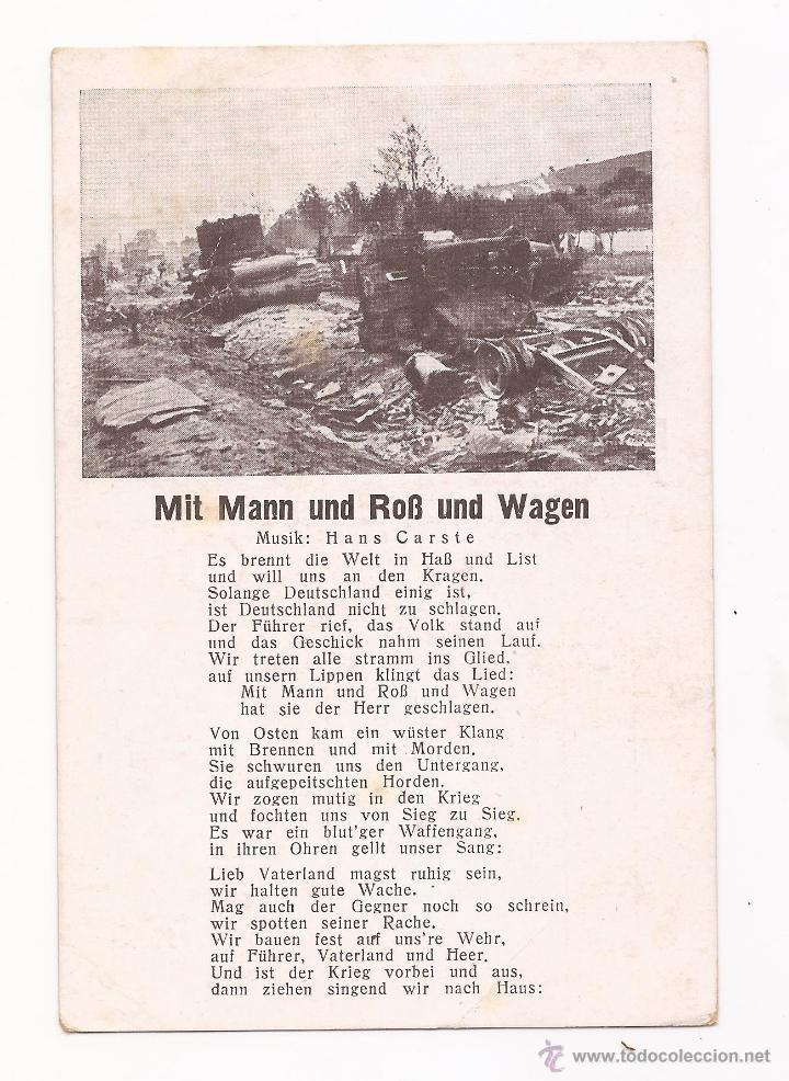 POSTAL MIT MANN UND ROB UND WAGEN / CANCIÓN / SPEZIAL VERLAG FRANKE, HAMBURG / ORIGINAL DE LA ÉPOCA (Postales - Postales Temáticas - II Guerra Mundial y División Azul)