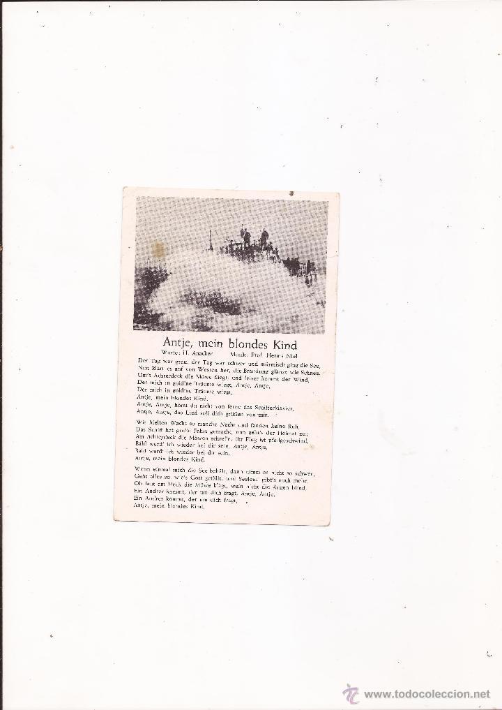 POSTAL ANTJE, MEIN BLONDES KIND / CANCIÓN / SPEZIAL VERLAG FRANKE, HAMBURG / ORIGINAL DE LA ÉPOCA / (Postales - Postales Temáticas - II Guerra Mundial y División Azul)