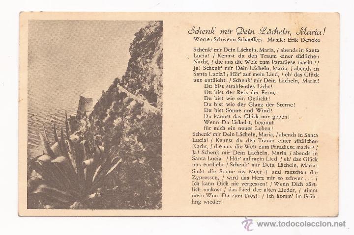 POSTAL SCHENK MIR DEIN LÄCHELN, MARIA ! / CANCIÓN / SPEZIAL VERLAG FRANKE, HAMBURG / ORIGINAL DE LA (Postales - Postales Temáticas - II Guerra Mundial y División Azul)