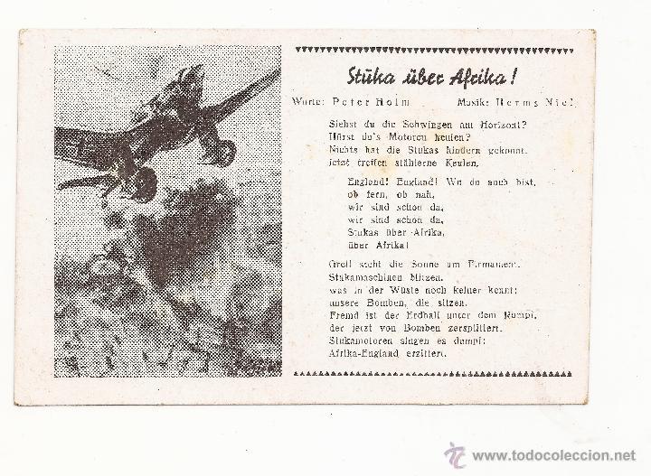 POSTAL STÜKA ÜBER AFRIKA ! / CANCIÓN / SPEZIAL VERLAG FRANKE, HAMBURG / ORIGINAL DE LA ÉPOCA / SIN U (Postales - Postales Temáticas - II Guerra Mundial y División Azul)