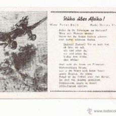 Postales: POSTAL STÜKA ÜBER AFRIKA ! / CANCIÓN / SPEZIAL VERLAG FRANKE, HAMBURG / ORIGINAL DE LA ÉPOCA / SIN U. Lote 50772683