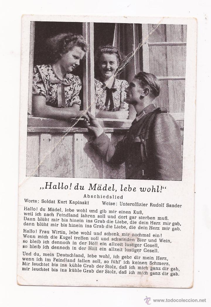POSTAL HALLO ! DU MÄDEL, LEBE WOHL ! / SPEZIAL VERLAG FRANKE, HAMBURG / ORIGINAL DE LA ÉPOCA / SIN U (Postales - Postales Temáticas - II Guerra Mundial y División Azul)