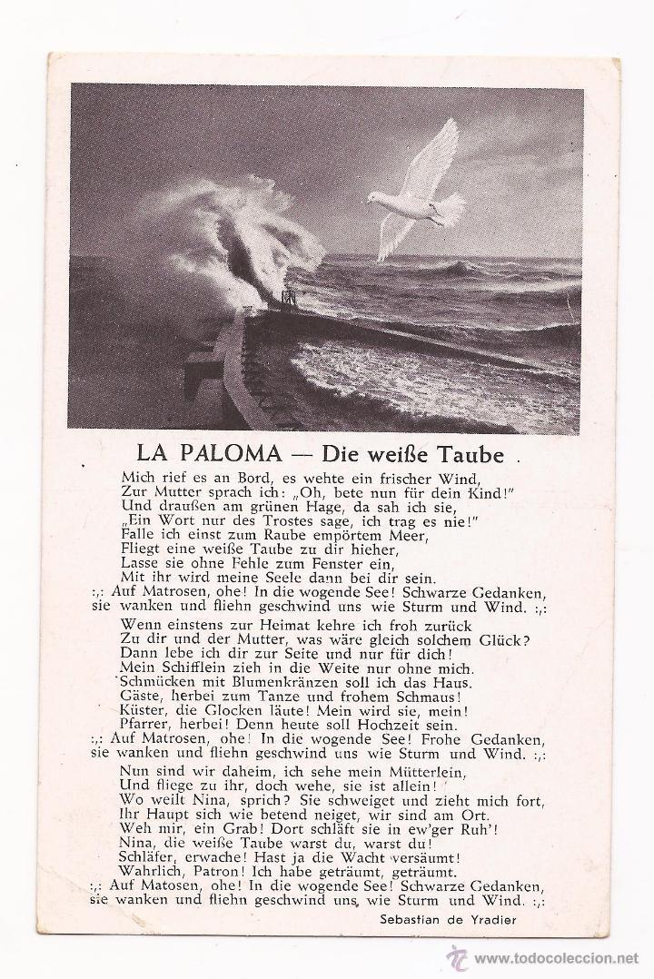 POSTAL LA PALOMA - DIE WEIBE TAUBE / SPEZIAL VERLAG FRANKE, HAMBURG / ORIGINAL DE LA ÉPOCA / SIN USA (Postales - Postales Temáticas - II Guerra Mundial y División Azul)
