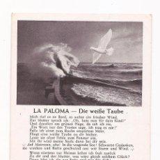 Postales: POSTAL LA PALOMA - DIE WEIBE TAUBE / SPEZIAL VERLAG FRANKE, HAMBURG / ORIGINAL DE LA ÉPOCA / SIN USA. Lote 50773163