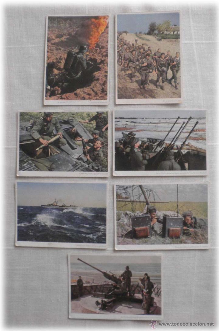 LOTE DE SIETE POSTALES EN COLOR DE LA 2ª GUERRA MUNDIAL (Postales - Postales Temáticas - II Guerra Mundial y División Azul)