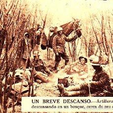 Postales: POSTAL UN BREVE DESCANSO ARTILLEROS BRITANICOS EN UN BOSQUE CERCA DE LOS CAÑONES -2ª GUERRA MUNDIAL. Lote 57972710