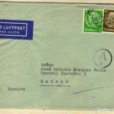 Postales: CORREO ALEMÁN A ESPAÑA DURANTE AL 2ª GUERRA MUNDIAL. FRANQUEO CURIOSO. CONSERVA LA CARTA.. Lote 65872574