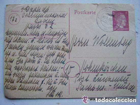 POSTKARTE . CORREO ALEMAN DE GUERRA , ENTERO POSTAL CON SELLO DE ADOLF HITLER IMPRESO. 1945. (Postales - Postales Temáticas - II Guerra Mundial y División Azul)