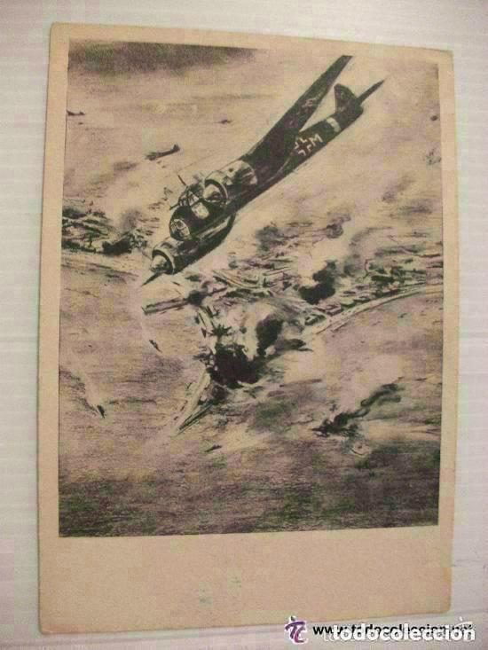 POSTAL DE LA AVIACION ALEMANA: BOMBARDEO DE LOS JU-88. RECUERDO DE VETERANO DIVISION AZUL. (Postales - Postales Temáticas - II Guerra Mundial y División Azul)