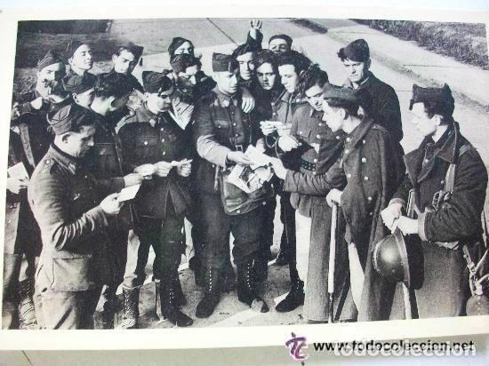 FOTO DE SOLDADOS FRANCESES RECIBIENDO EL CORREO, CASCO ADRIAN, ETC (Postales - Postales Temáticas - II Guerra Mundial y División Azul)
