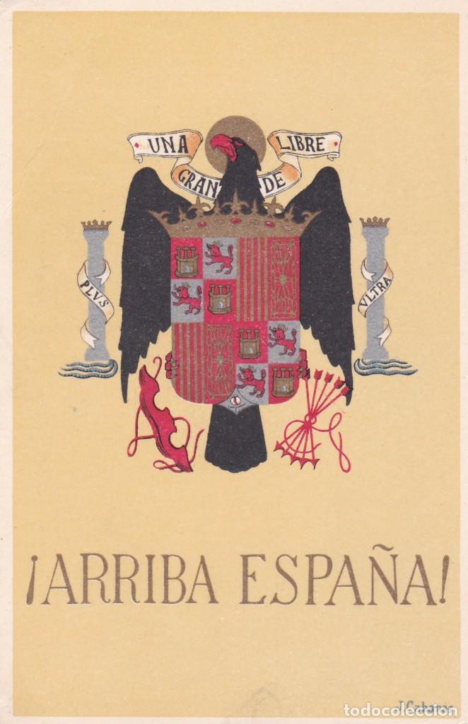 TARJETA POSTAL ESCUDO ARRIBA ESPAÑA (Postales - Postales Temáticas - II Guerra Mundial y División Azul)